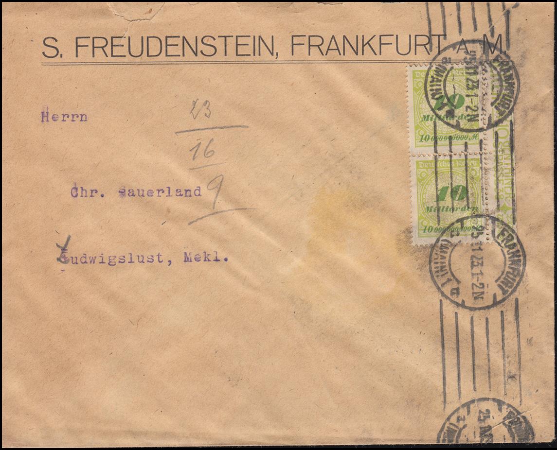 328AP Infla 10 Mrd M als Randpaar portogerte MeF Brief FRANKFURT/AMIN 25.11.23