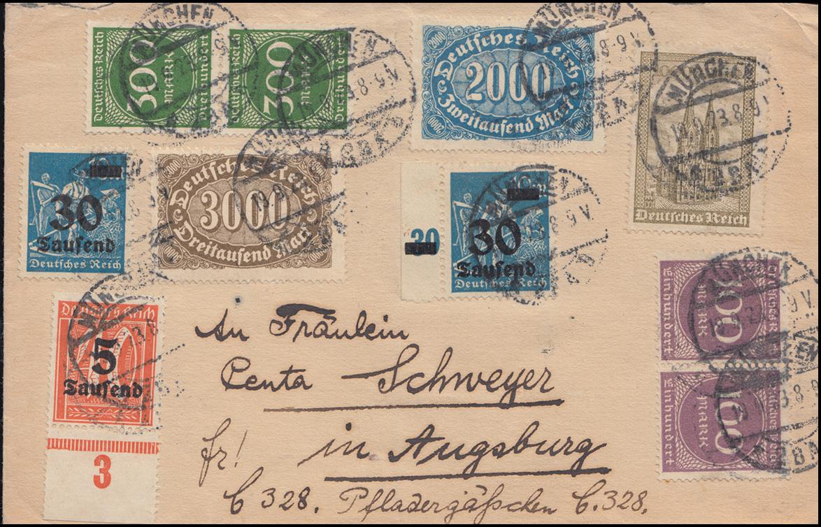 253ff Infla-Brief mit 10 Werten mit 277UR und 284SR MÜNCHEN 19.9.23 n. Augsburg