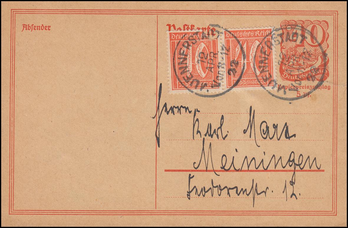 Postkarte P 141I Postreiter mit 2mal 182 von MÜNNERSTADT 12.4.22 n. Meiningen