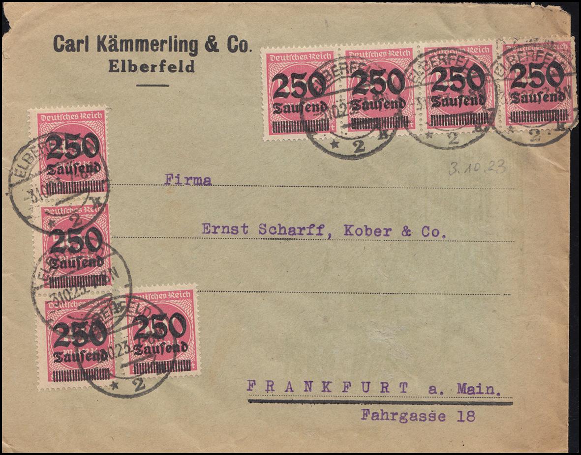 295 Infla 250 Tsd auf 500 M als MeF auf Brief ELBERFELD 3.10.23 nach Frankfurt/M