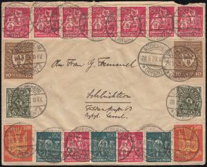 Infla-Brief 233/234 etc. vorder- und rückseitig Brief RÜDESHEIM 28.5.23