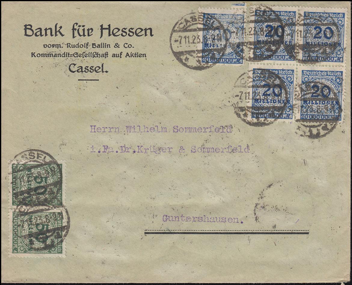 319APa+321WAa Infla-Mischfrankatur auf Brief CASSEL 7.11.23 nach Guntershausen