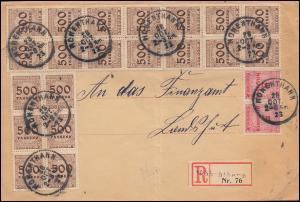 313AP+317AP Infla-MiF auf R-Brief Not-R-Zettel HOHENTHANN 28.10.23 nach Landshut