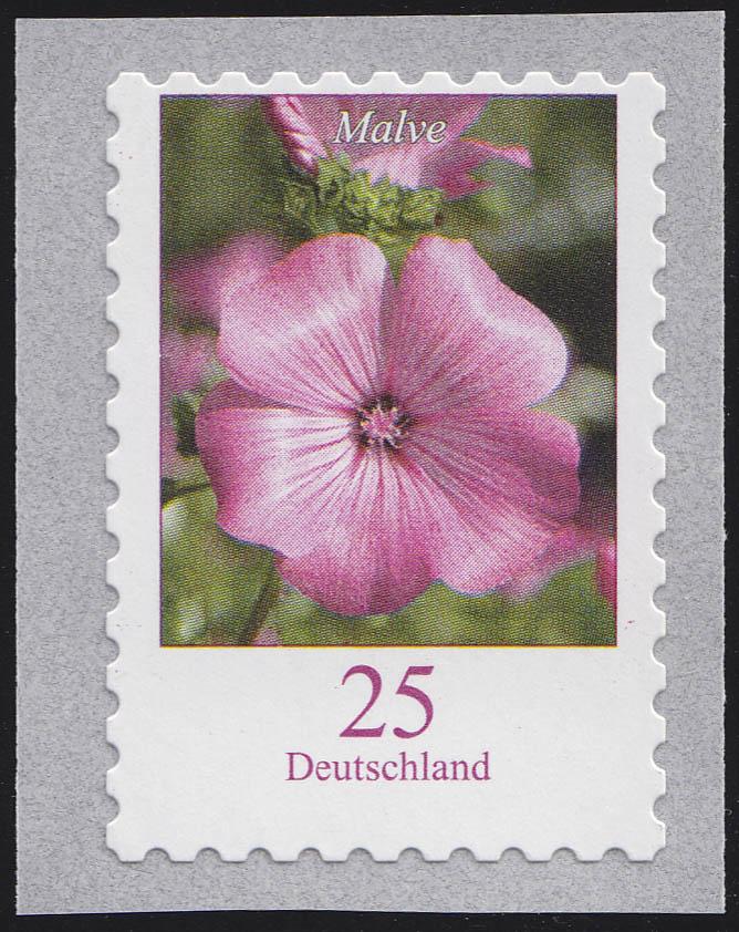 2513a Blume 25 Cent/sk, waagerechte Verzähnung oben fast bis ins Markenbild, **