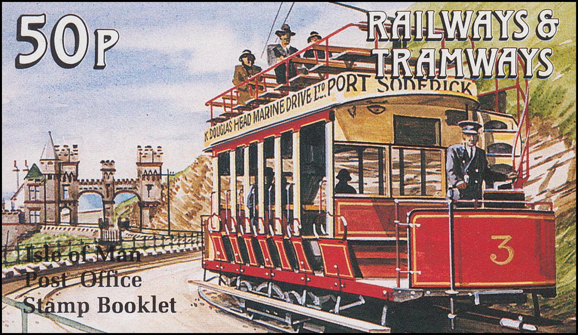 Isle of Man Markenheftchen 21, Straßenbahn und Eisenbahn 53 Pence 1990, **