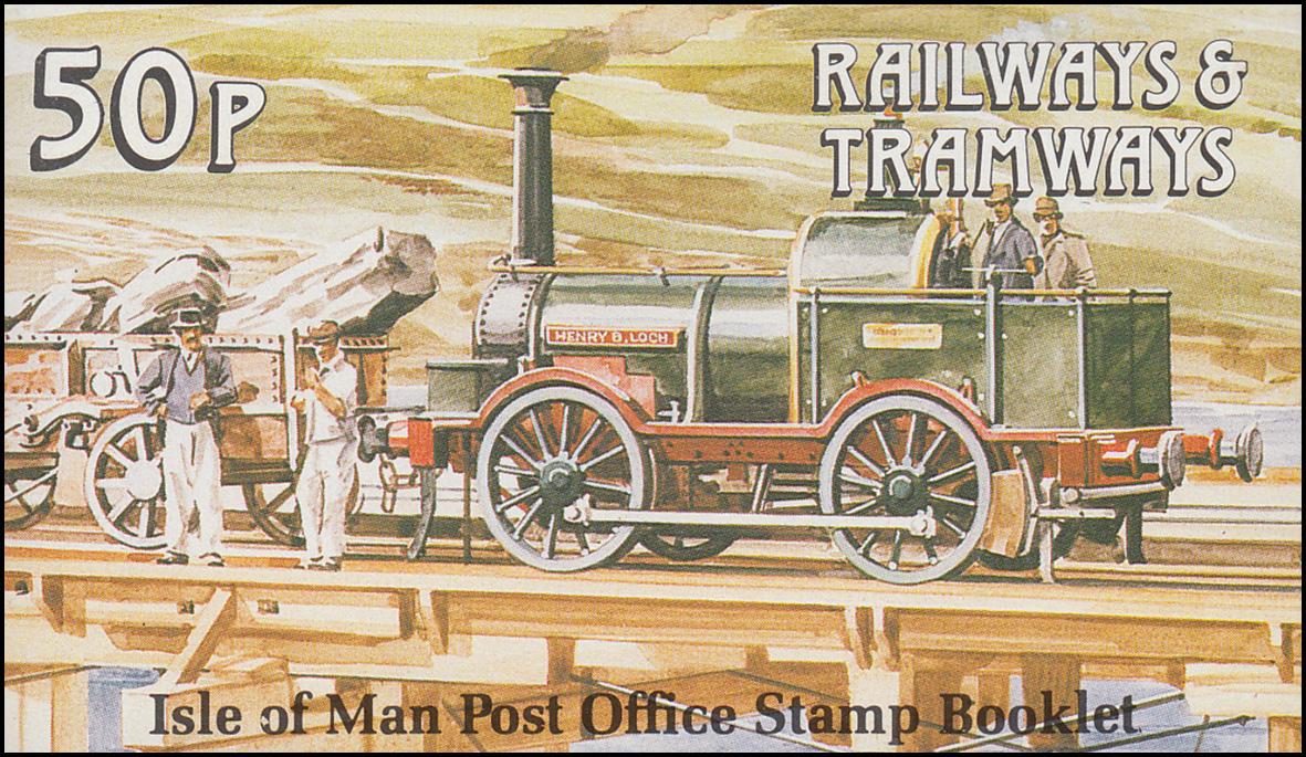 Isle of Man Markenheftchen 19, Straßenbahn und Eisenbahn 51 Pence 1989, **