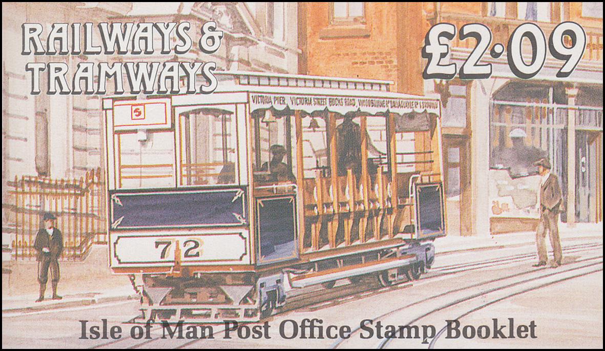 Isle of Man Markenheftchen 20, Straßenbahn und Eisenbahn 2,09 Pfund 1989, **