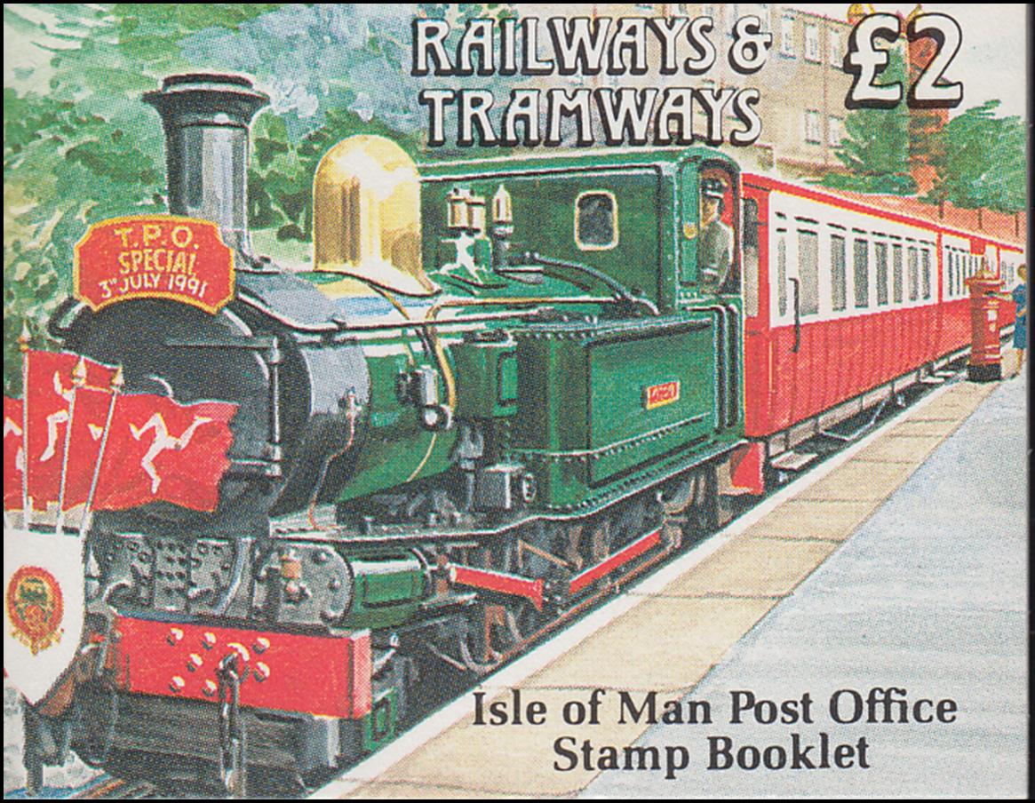 Isle of Man Markenheftchen 27, Straßenbahn und Eisenbahn 2 Pfund 1992, **