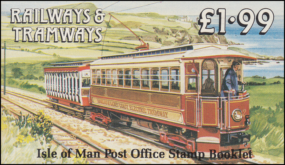 Isle of Man Markenheftchen 17, Straßenbahn und Eisenbahn 1,99 Pfund 1988, **