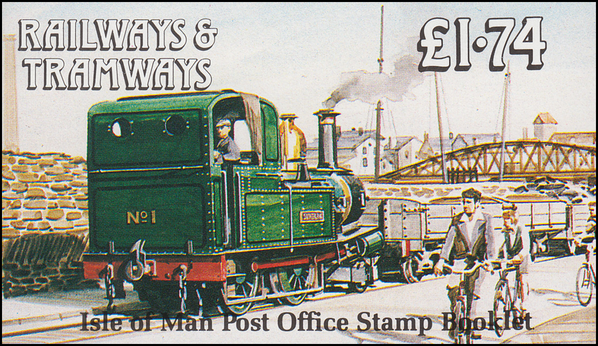 Isle of Man Markenheftchen 22, Straßenbahn und Eisenbahn 1,74 Pfund 1990, **
