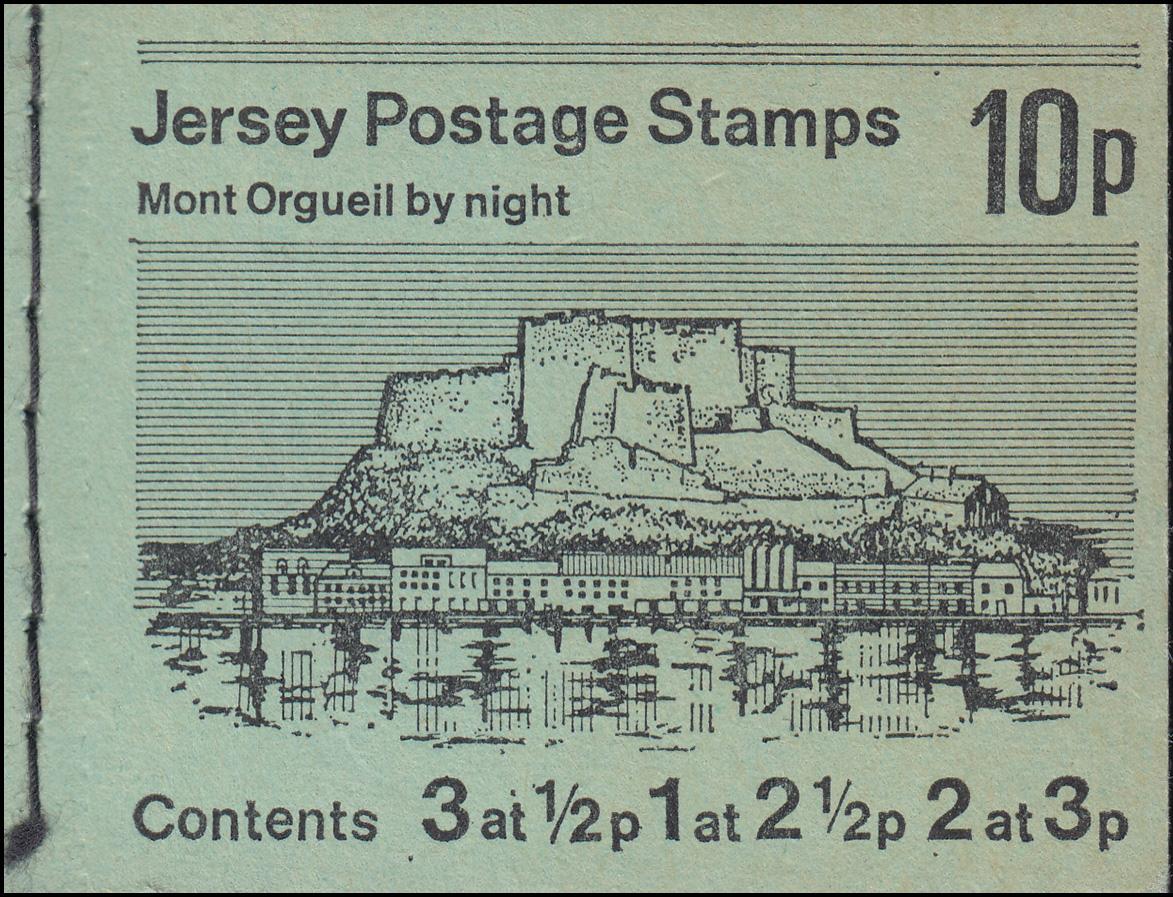 Jersey Markenheftchen 0-10, Mont Orguell by night, mit Unterrand **