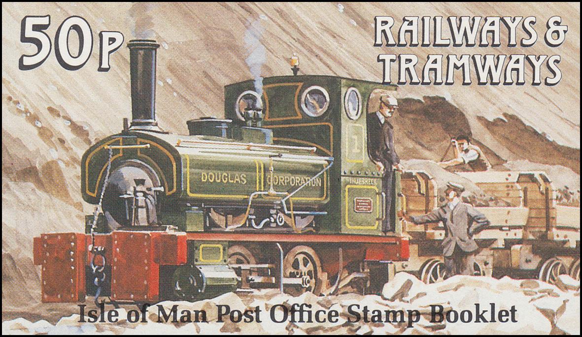 Isle of Man Markenheftchen 16, Straßenbahn und Eisenbahn 51 Pence 1988, **