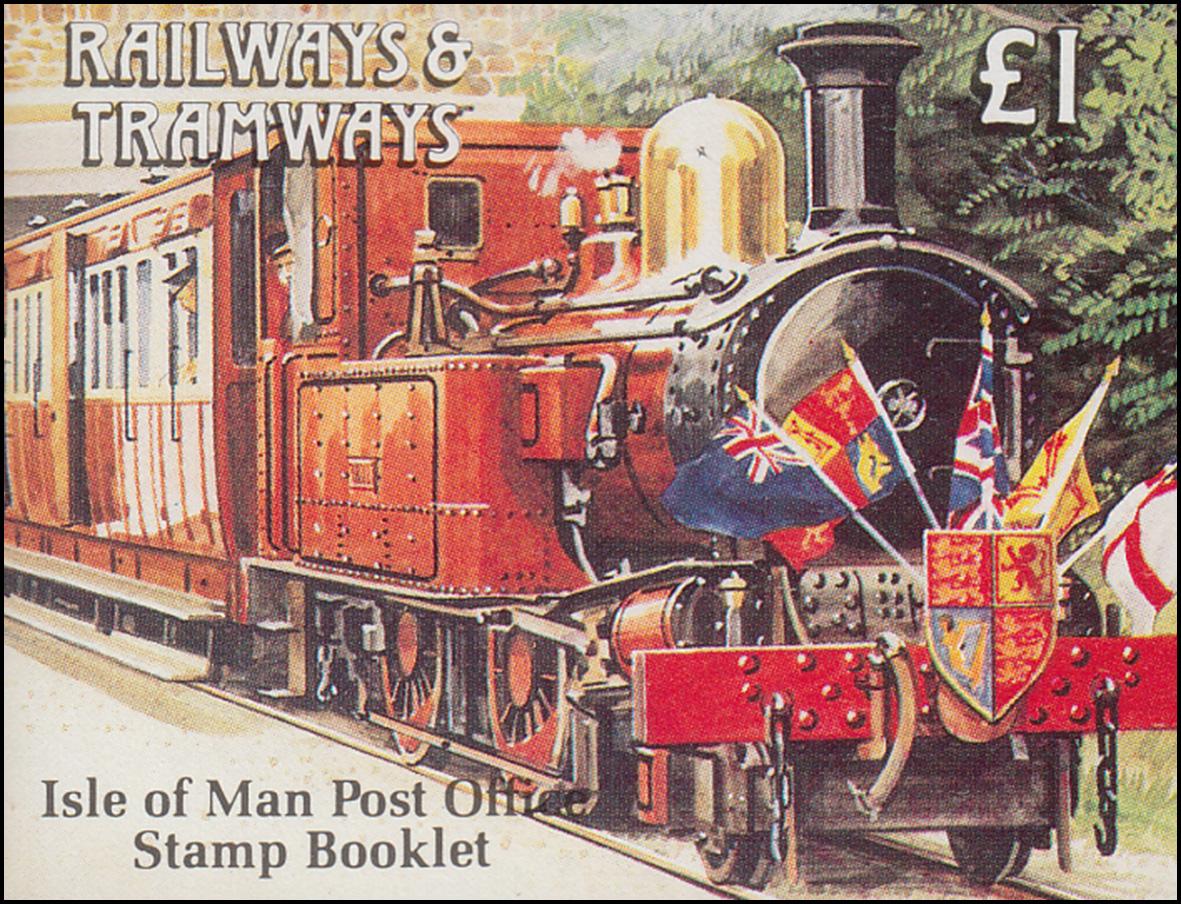 Isle of Man Markenheftchen 25, Straßenbahn und Eisenbahn 1,01 Pfund 1991, **