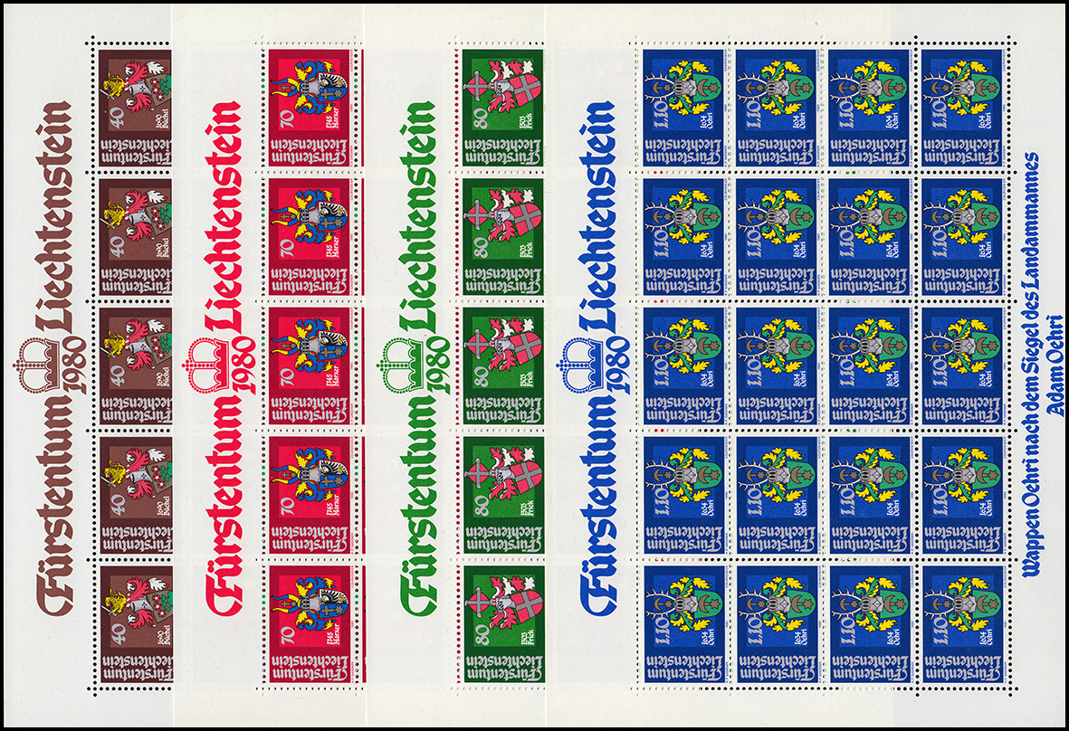 743-746 Wappen der Landammänner 1980, 4 Werte, Kleinbogen-Satz **