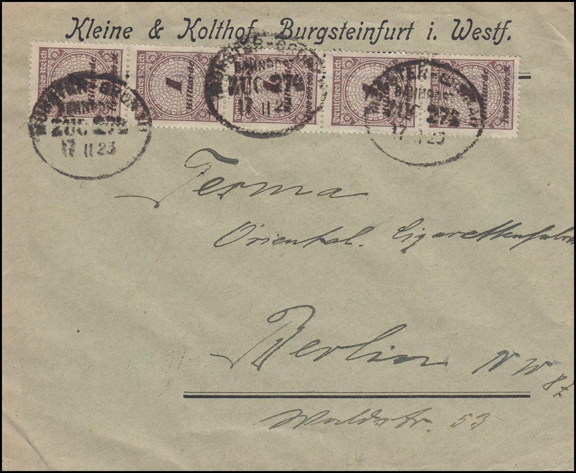 325APa Infla-MeF auf Brief mit BAHNPOST MÜNSTER-GRONAU 17.11.23 nach Berlin