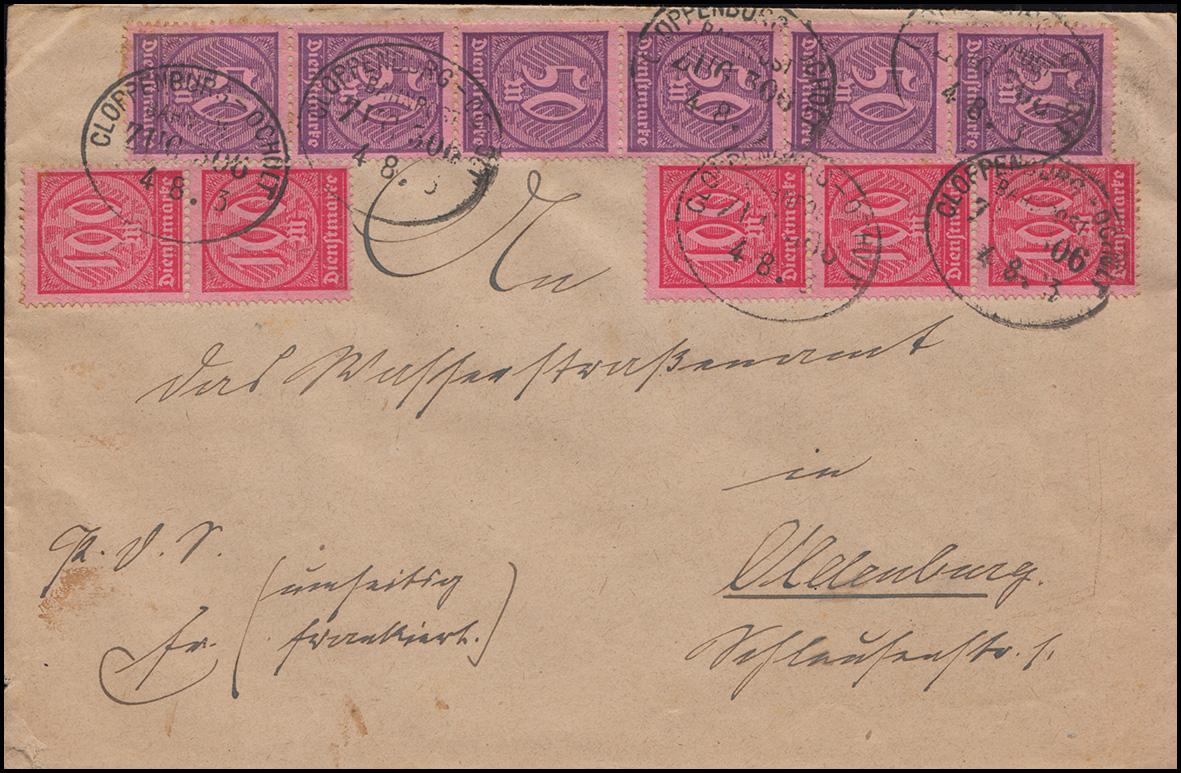 68 ff Dienstmarken-MiF auf Brief BAHNPOST CLOPPENBURG-OCHOLD ZUG 306 - 4.8.23