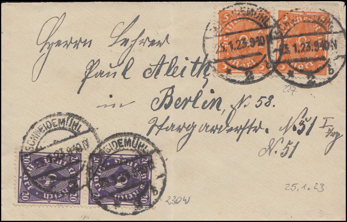 227+230 Posthorn-Mischfrankatur auf Damenbrief SCHNEIDEMÜHL 25.1.23 nach Berlin
