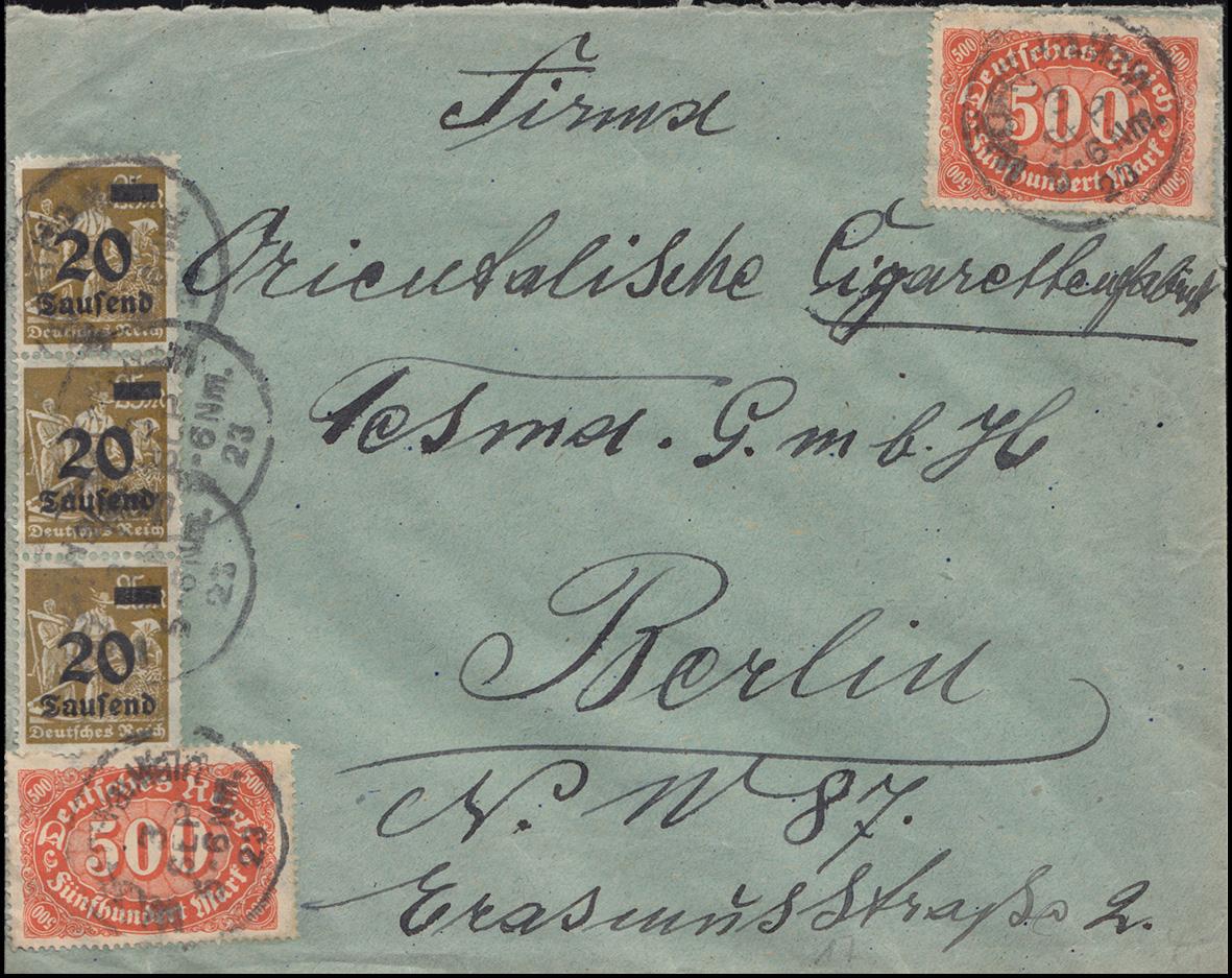 251+253a+281 Infla-Mischfrankatur auf Brief WÖRTH AM RHEIN 3.9.23 nach Berlin