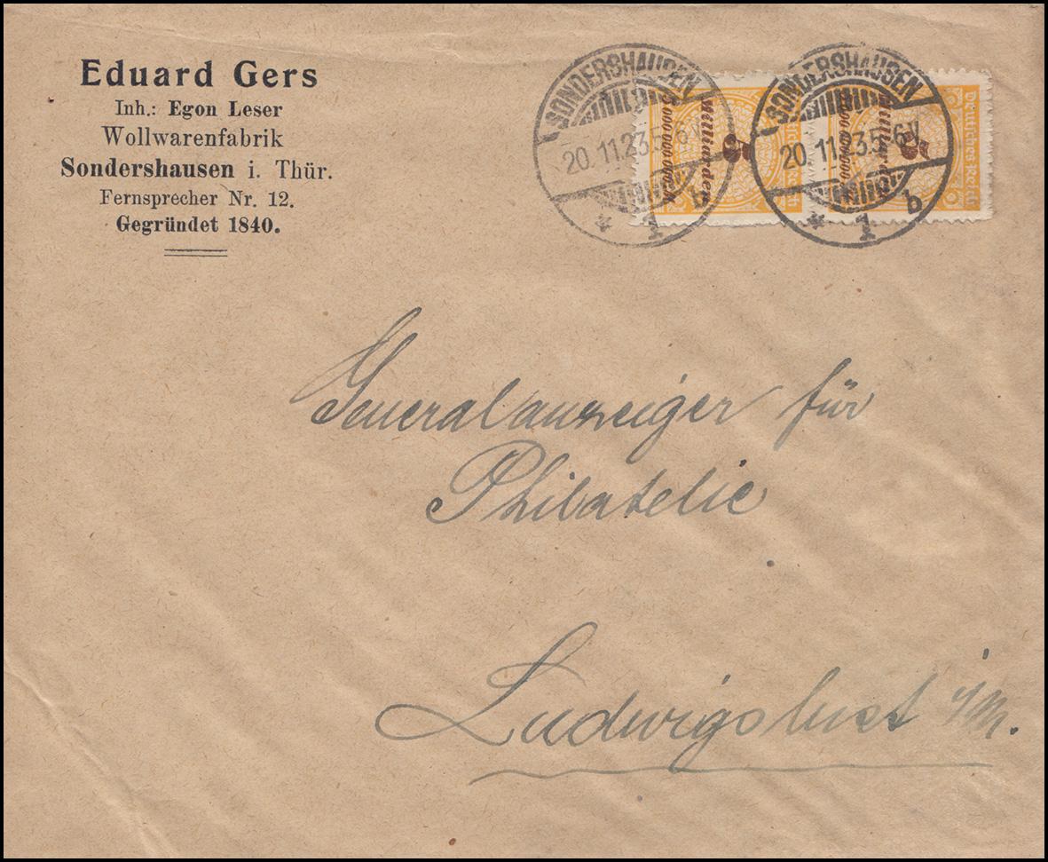 327BP Infla 5 Mdr. im Paar Brief SONDERSHAUSEN 20.11.23 - 6 V nach Ludwigslust
