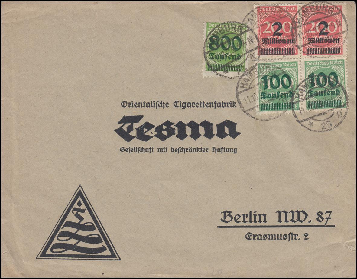 309ff Infla-Mischfrankatur auf Brief HAMBURG 11.10.23 n. Berlin Tesma-Tabakwaren