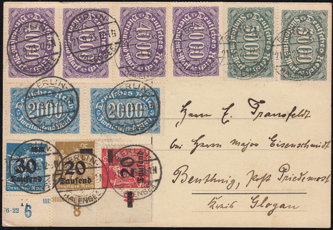 253ff Infla-Mischfrankatur auf Postkarte BERLIN-HALENSEE 21.9.23 nach Beuthnig