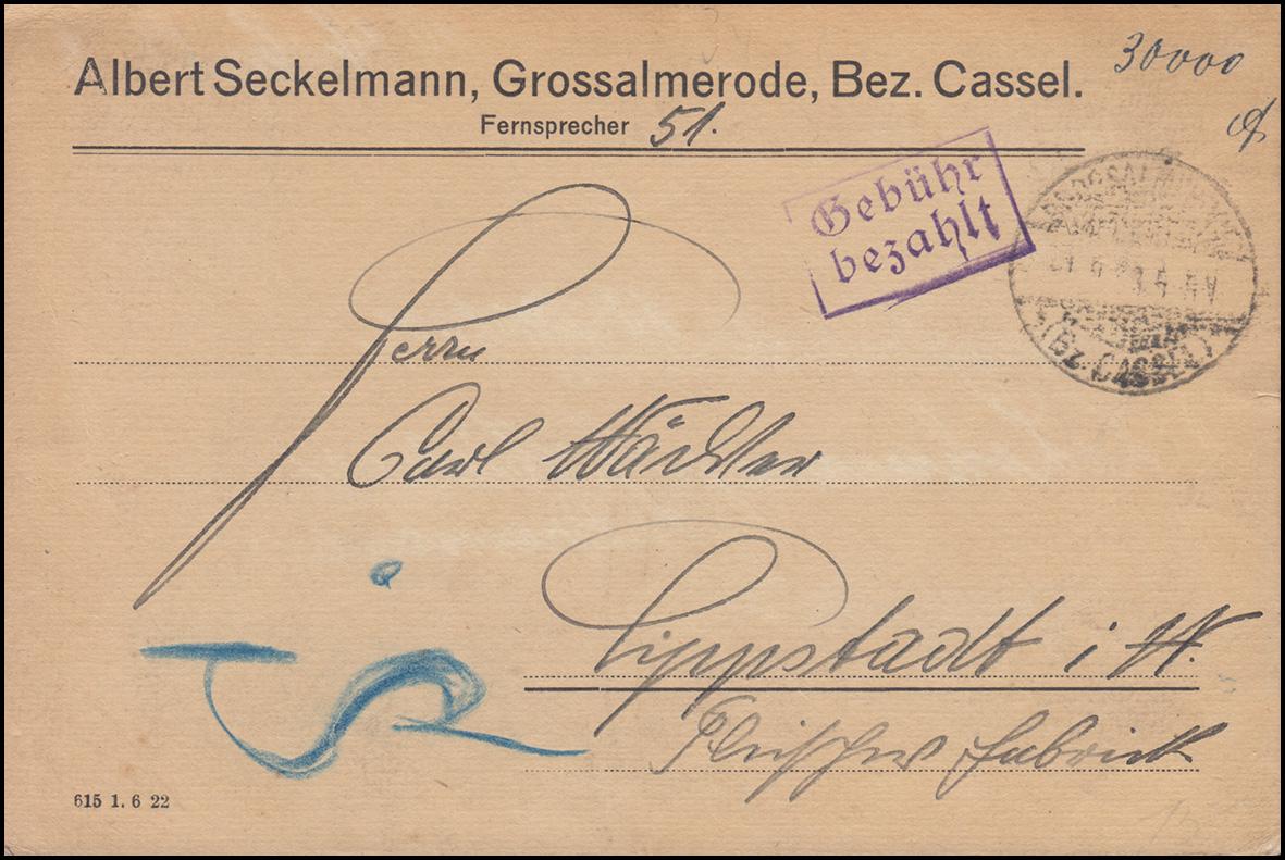 Infla-Notausgabe Gebühr-bezahlt-Stempel Postkarte GROSSALMERODE / CASSEL 1..9.23