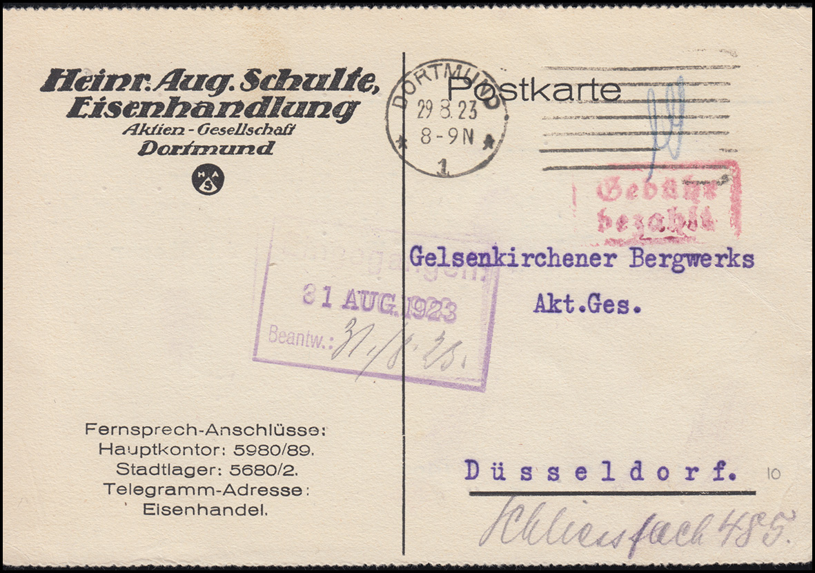 Infla-Notausgabe Gebühr-bezahlt-Stempel auf Postkarte DORTMIUND 29.8.23