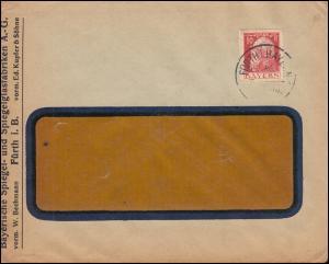 Bayern Firmenlochung BS auf 78II Luitpold EF Ortsbrief FÜRTH/BAY. um 1918/1919