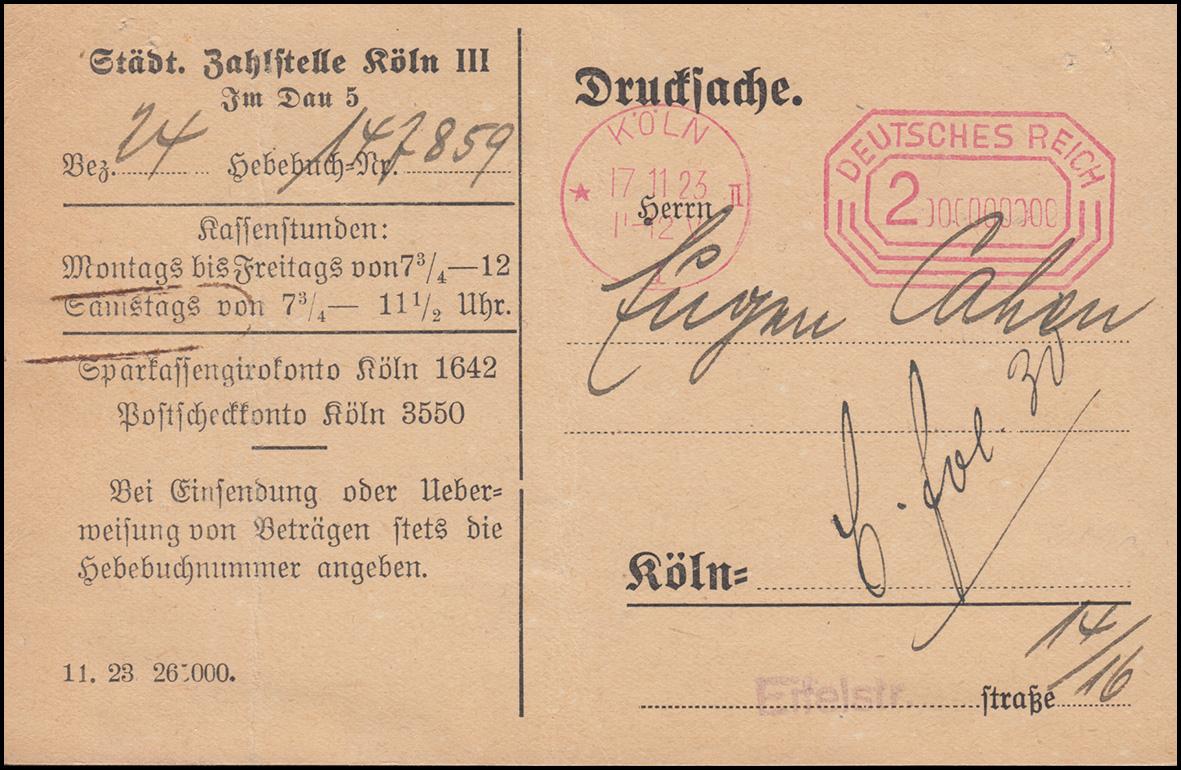 Freistempel 2 Mrd. Städt. Zahlstelle Köln vom 17.11.23 auf Orts-Drucksache