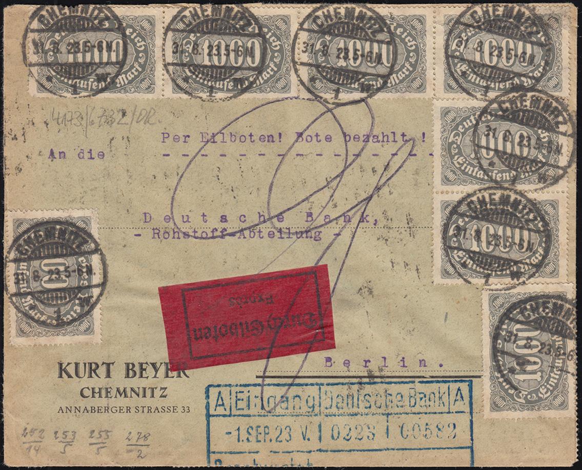 252ff Infla-Mischfrankatur auf Eil-Brief CHEMNITZ 31.8.1923 nach BERLIN 1.9.23