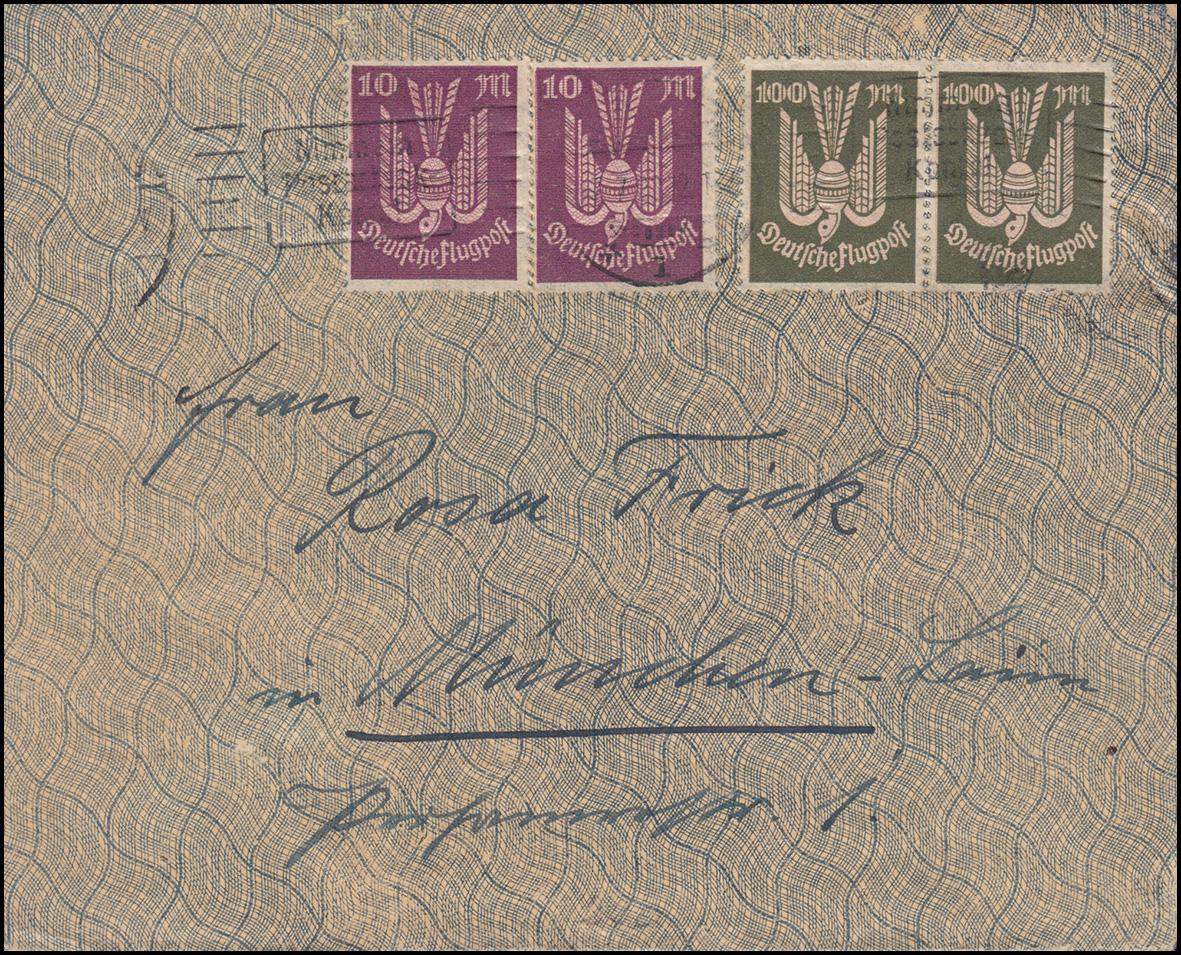 235+237+238 Infla-Mischfrankatur auf Brief KAISERSLAUTERN 7.7.23 nach München