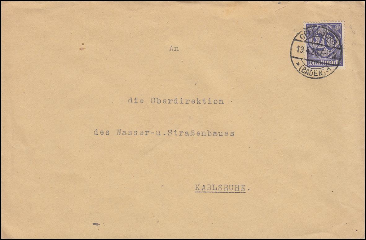 26 Dienstmarke 20 Pf als EF auf Brief Kulturinspektion OFFENBURG / BADEN 19.4.20