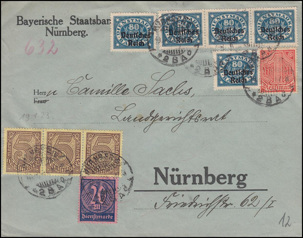 26ff Dienstmarken-MiF Ortsbrief Staatsbank NÜRNBERG 19.4.23 an das Landgericht