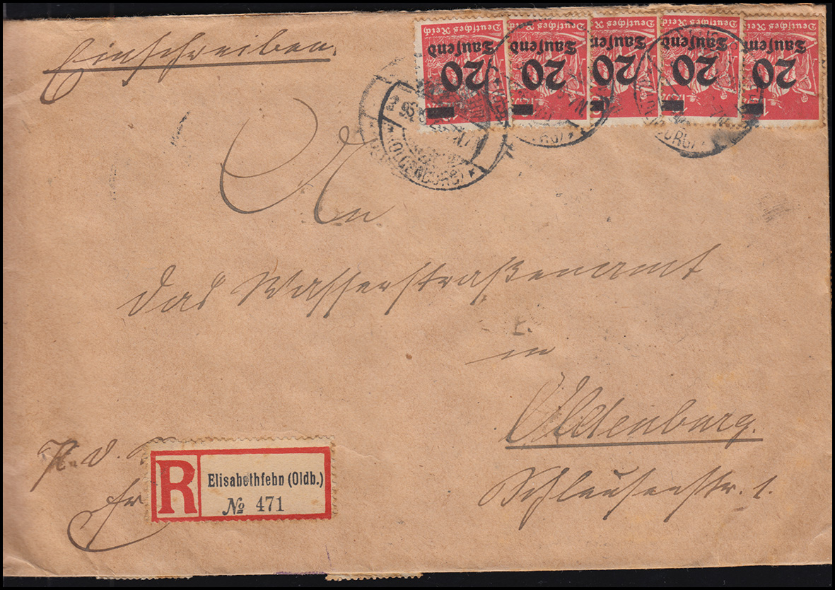 273+280 Infla-Massenfrankatur R-Brief ELISABETHFEHN 3.9.1923 nach Oldenburg