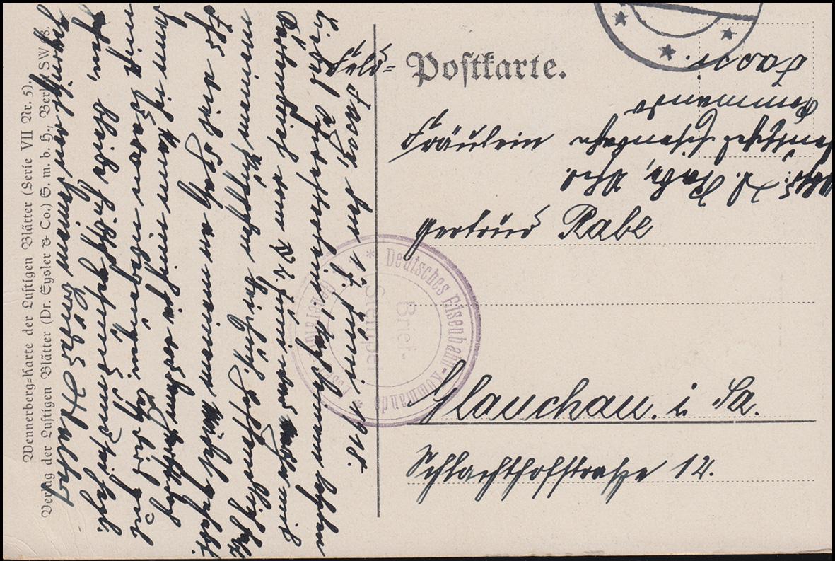 Feldpost Deutsches Eisenbahnkommando auf Wanneberg-AK Der Stolz der Firma,7.6.18
