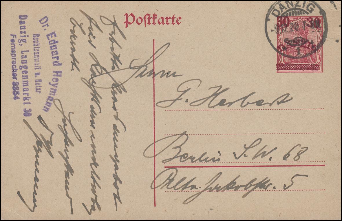 Danzig Postkarte P 7 Germania 10 mit Aufdruck 30 von DANZIG 9.12.1920 n. Berlin