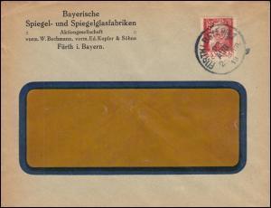 Bayern Firmenlochung BS auf 78II Luitpold 10 Pf EF Ortsbrief FÜRTH/BAY. 22.8.18