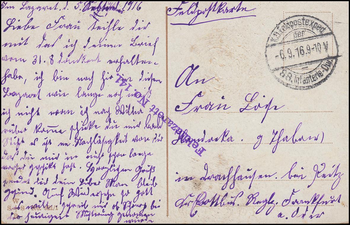 Feldpost BS Feldlazarett Nr. 141 auf Propaganda-AK Gedicht Trommelklang