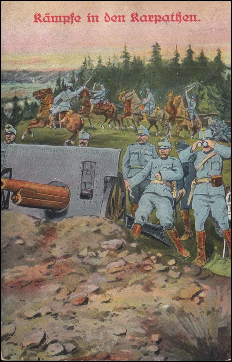 Ansichtskarte Kämpfe in den Karpaten - Artilleriestellung, BRESLAU 28.5.1915