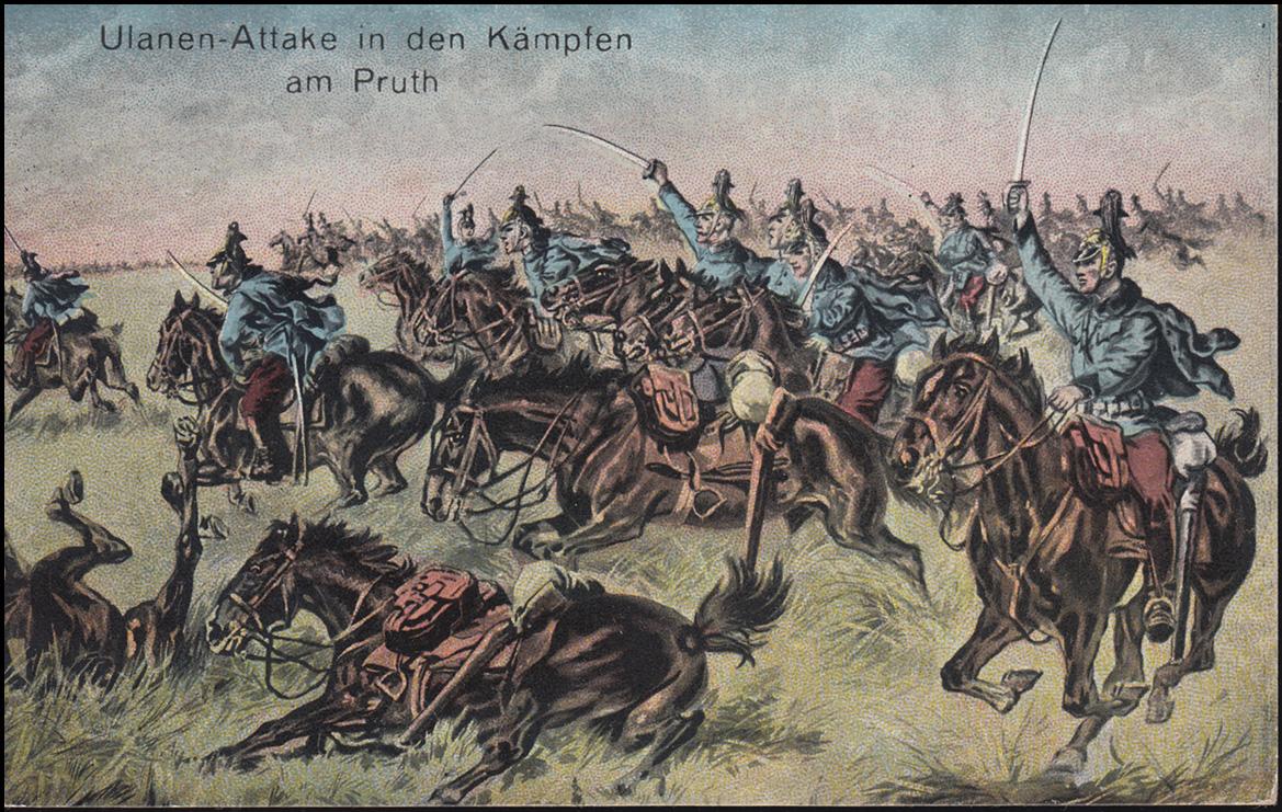 Ansichtskarte Ulanen-Attake in den Kämpfen am Pruth, ST. POLTEN 15.7.1915