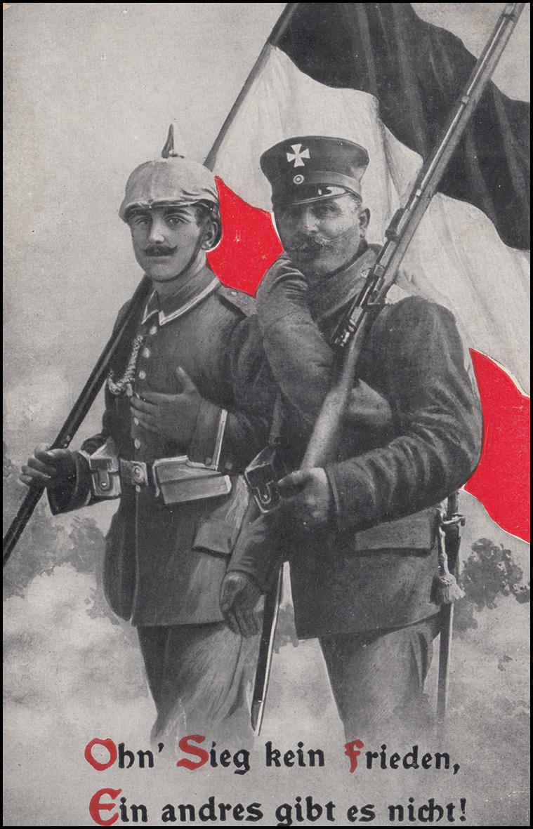 Propaganda-AK Ohn' Sieg kein Frieden ... als Feldpost NEUSTADT / SACHSEN 26.7.16