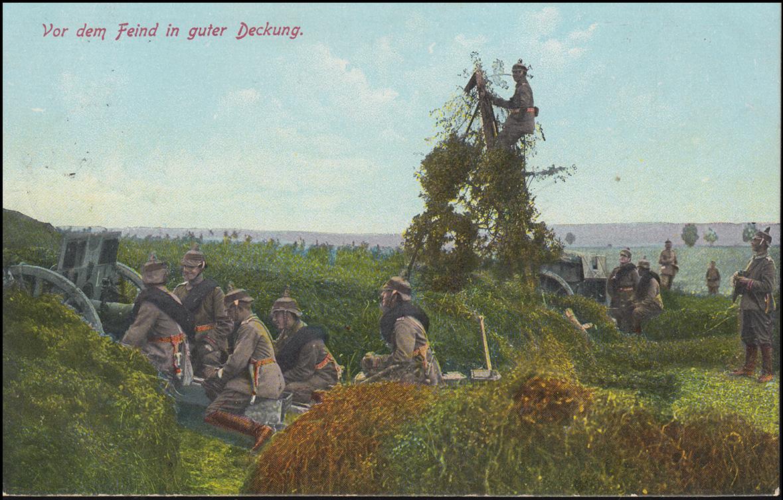 Ansichtskarte Vor dem Feind in guter Deckung als Feldpost FRANKFURT/ODER 14.5.15