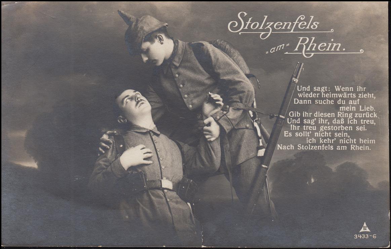 Ansichtskarte Stolzenfels am Rhein - Gedicht mit 2 Soldaten, 18.6.1916