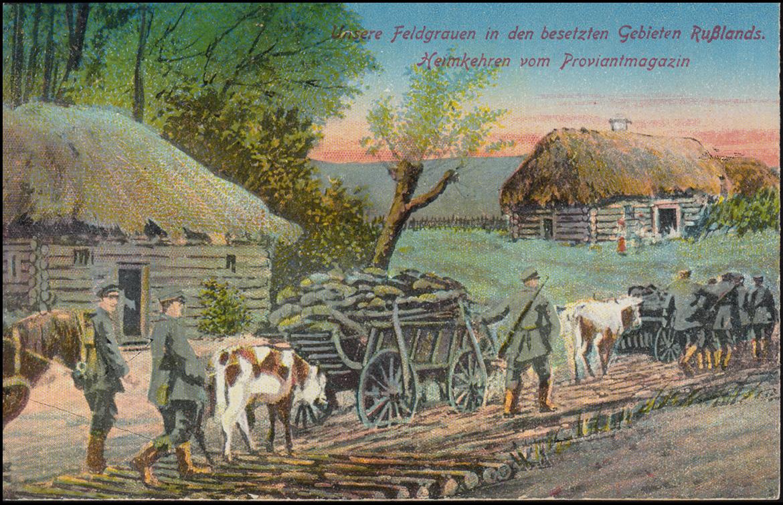 Ansichtskarte Heimkehren vom Proviantmagazin als Feldpost 7.11.1917