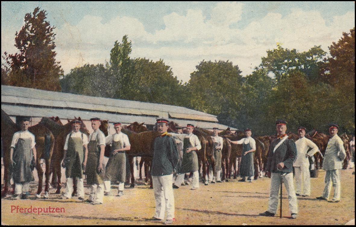Ansichtskarte Pferdeputzen beim Militär, OETZSCH 26.7.1910