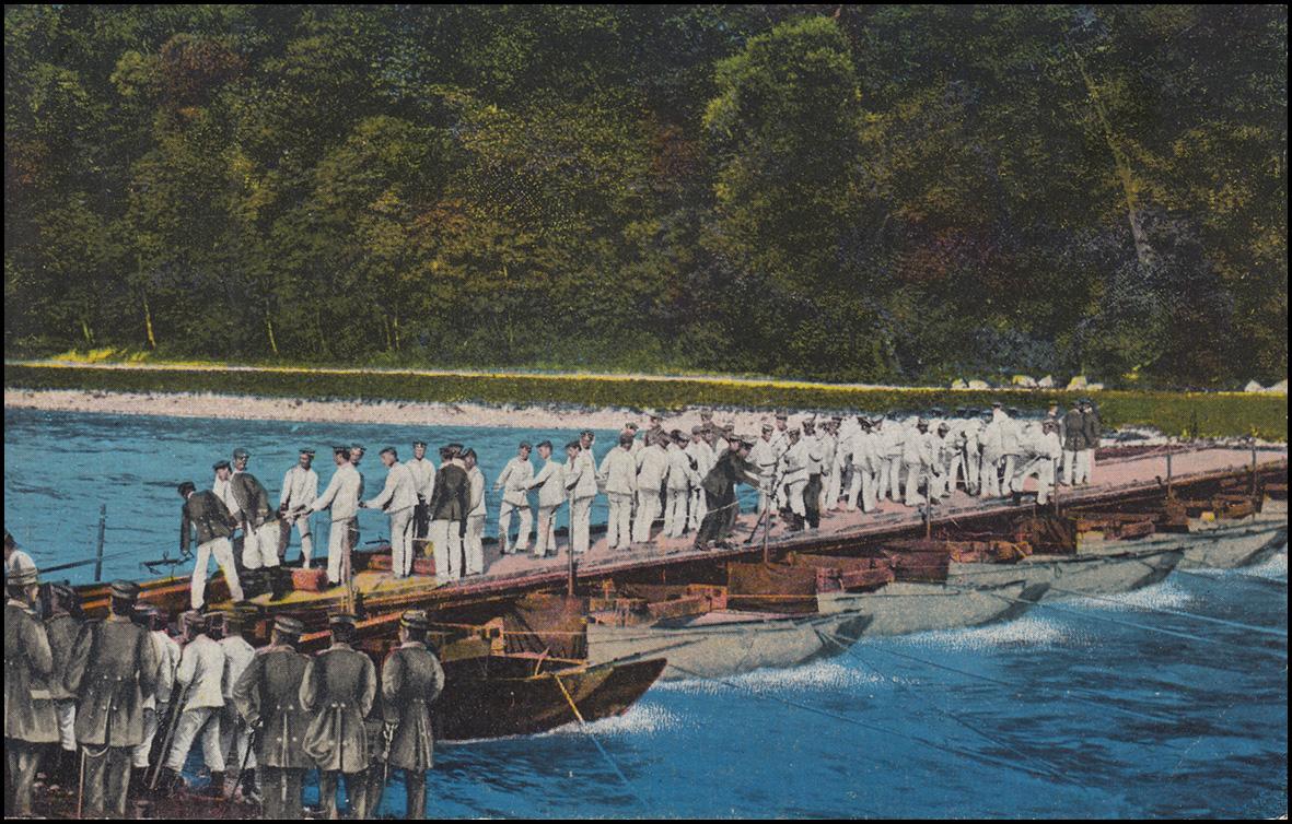 Ansichtskarte I. Weltkrieg: Unsere Pioniere beim Brückenbau, beschriftet