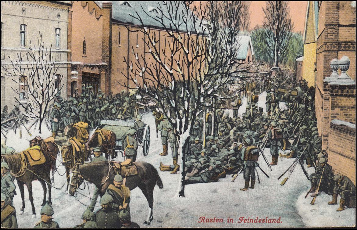 Ansichtskarte I. Weltkrieg: Rasten in Feindesland, geschrieben 9.5.1915