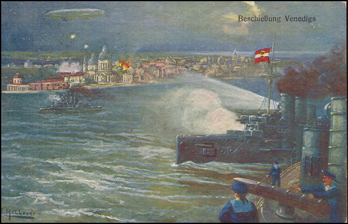 Ansichtskarte Beschießung Venedigs als Feldpost SALZBURG 26.3.1917