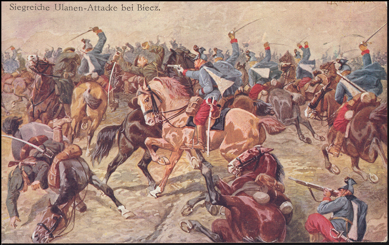 AK Gemälde Ranzenhofer: Siegreiche Ulanen-Attacke bei Biecz, INNSBRUCK 5.1.1915