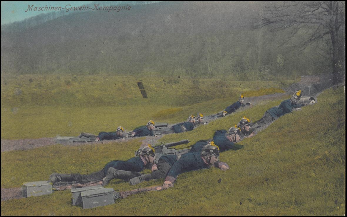 Ansichtskarte Maschinen-Gewehr-Kompanie, Feldpost ZEITHAIN/ÜBUNGSPLATZ 24.1.18